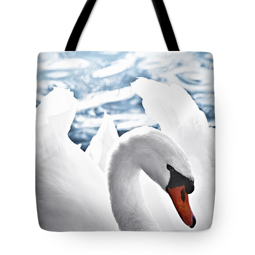 Swan Tote Bag featuring the photograph White Swan On Water by Elena Elisseeva