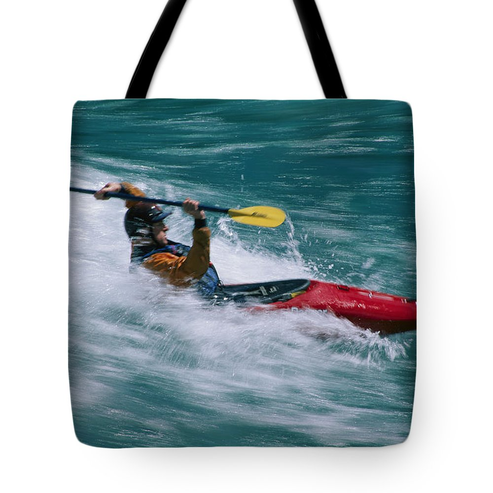 Boats Tote Bag featuring the photograph Whitewater Kayaker Surfing A Standing by Skip Brown