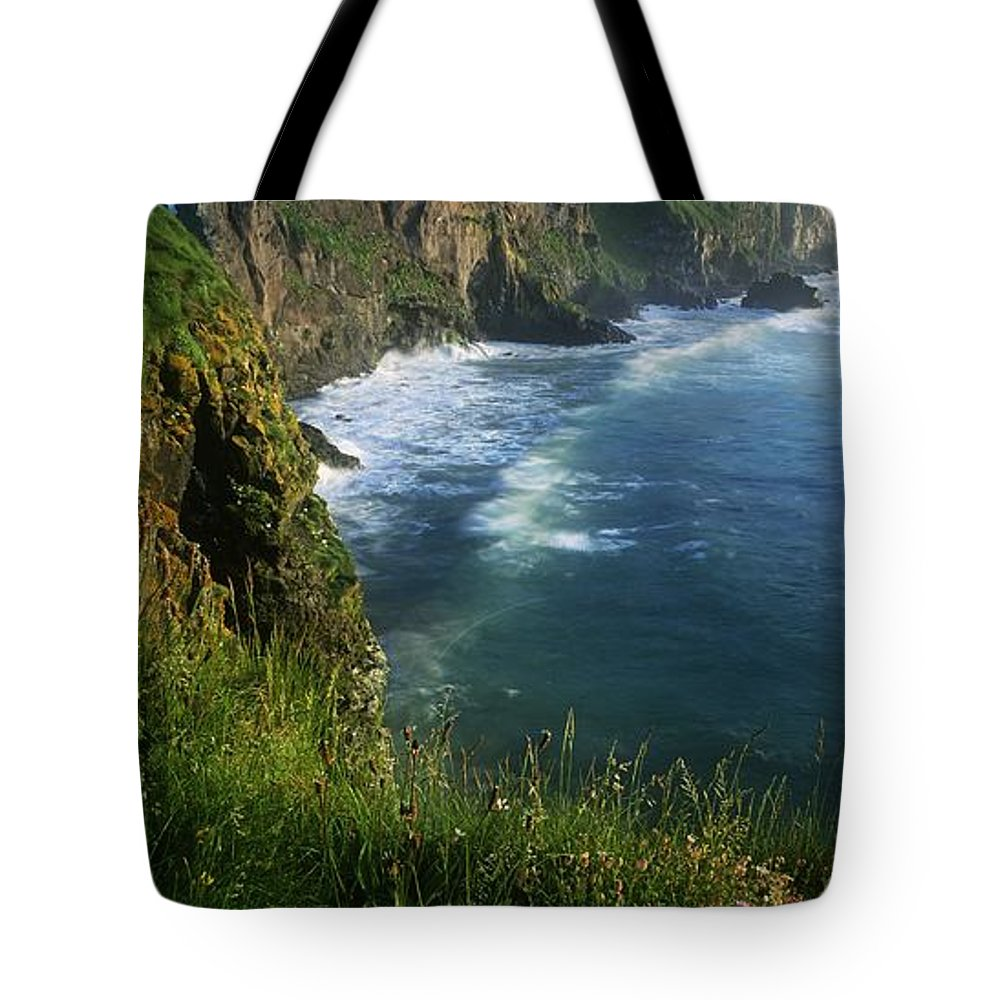 Cloud Tote Bag featuring the photograph Wildflowers At The Coast, County by The Irish Image Collection