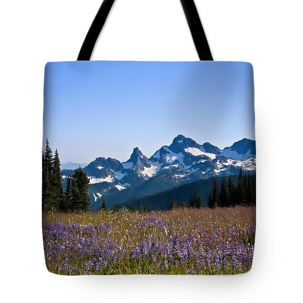 Cascade Tote Bag featuring the photograph Wildflowers In The Cascades by Ronald Lutz