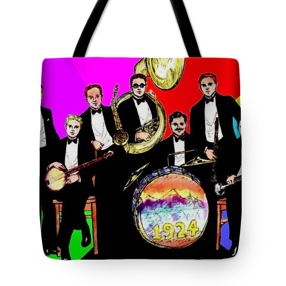 Nostalgia Tote Bag featuring the drawing Wolverines 1924 by Mel Thompson