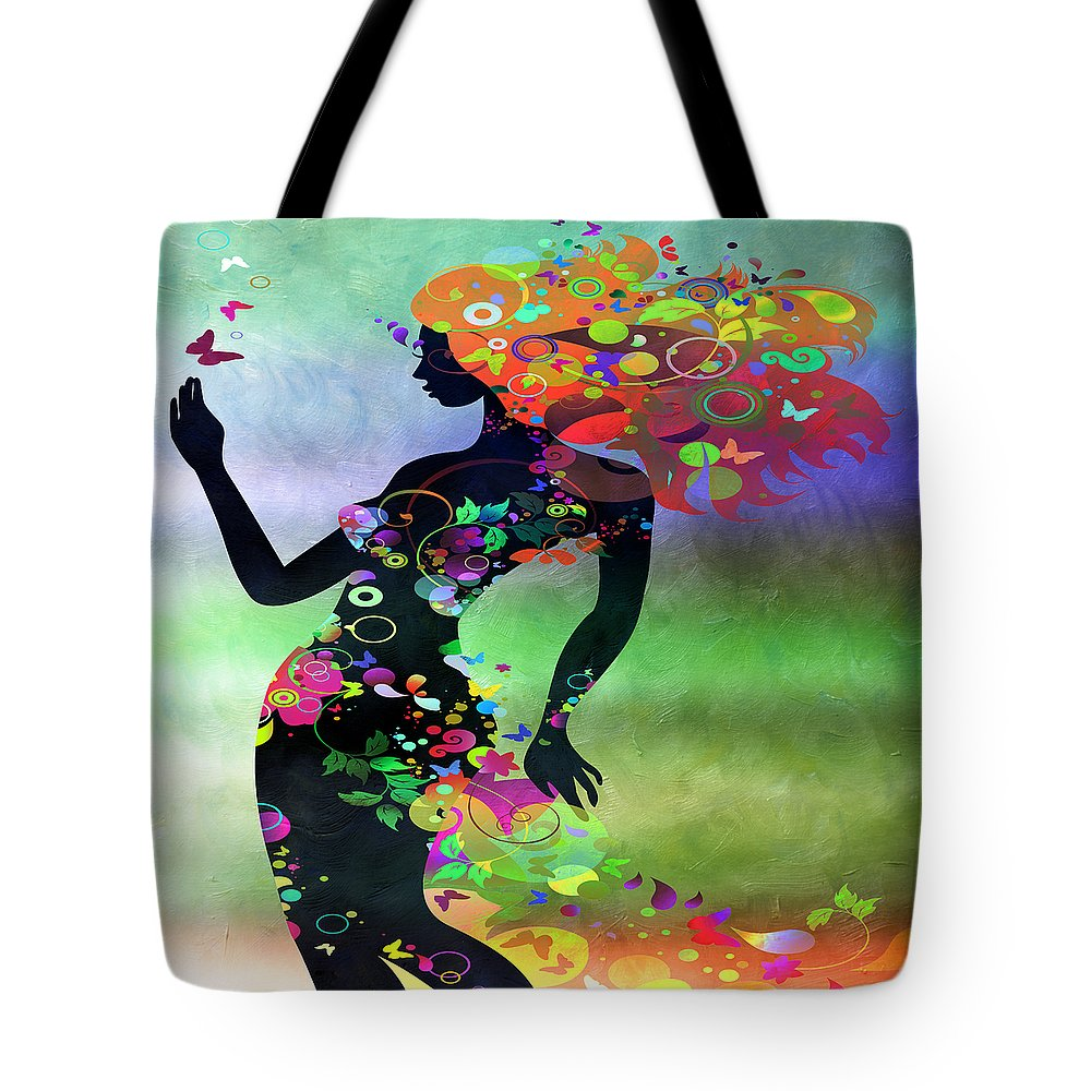 Amaze Tote Bag featuring the mixed media Wondering 2 by Angelina Tamez