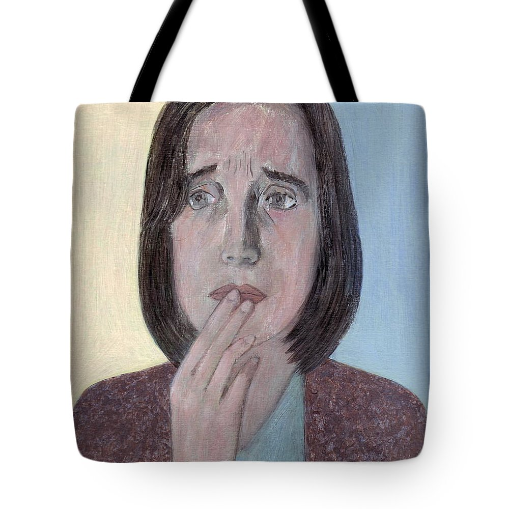 Woman Tote Bag featuring the painting Worry by Kazumi Whitemoon
