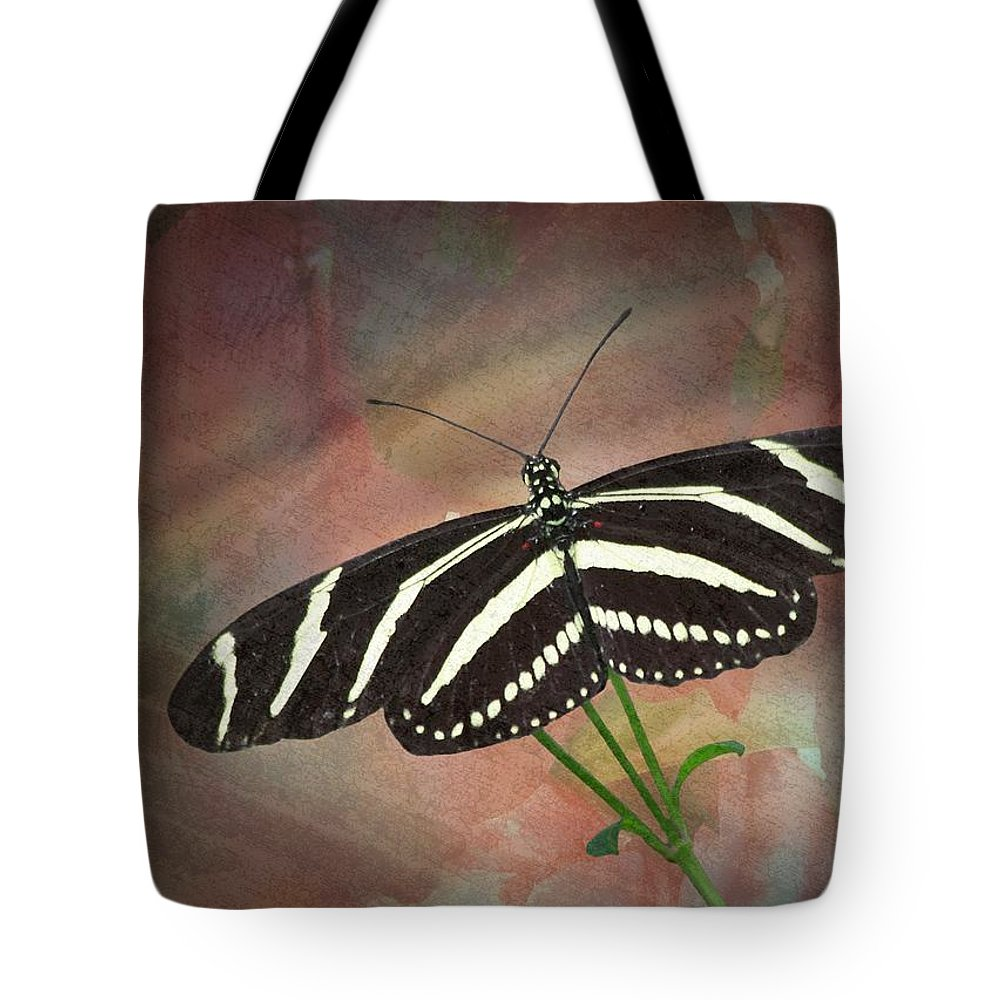 Zebra Tote Bag featuring the photograph Zebra Longwing Butterfly-2 by Rudy Umans