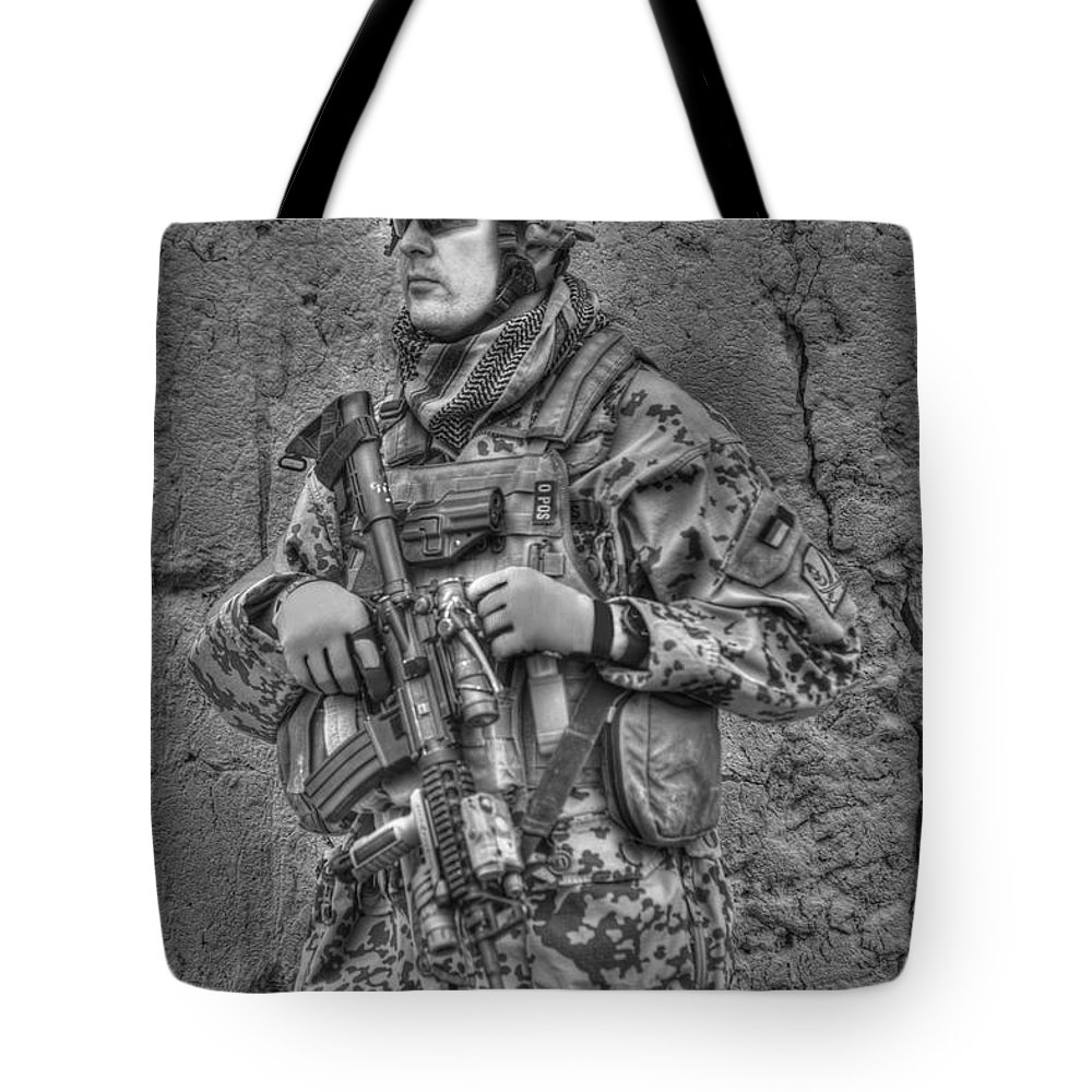 Operation Enduring Freedom Tote Bag featuring the photograph Hdr Image Of A German Army Soldier by Terry Moore