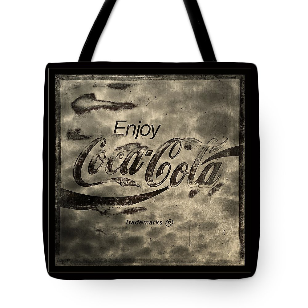 Coca Cola Tote Bag featuring the photograph Coca Cola Sign Grungy Retro Style by John Stephens
