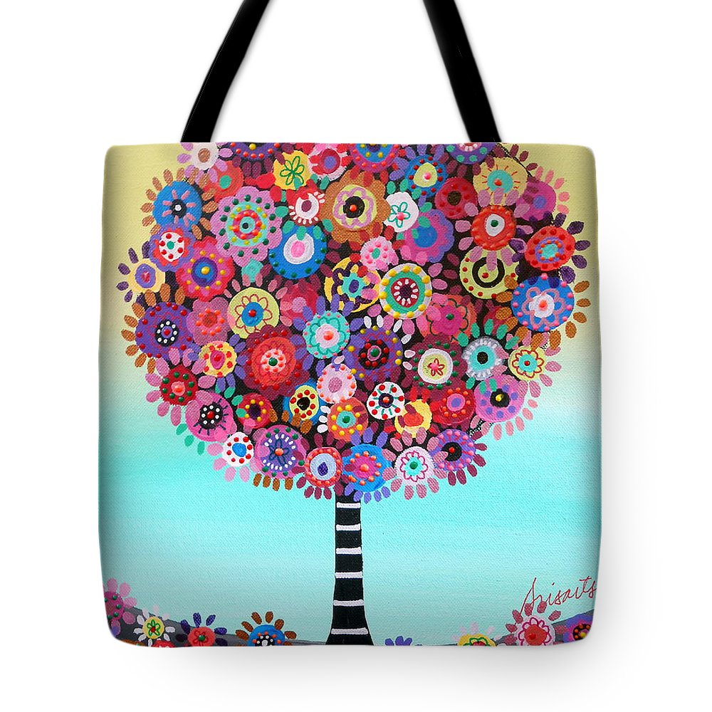 Blooms Tote Bag featuring the painting Tree Of Life by Pristine Cartera Turkus