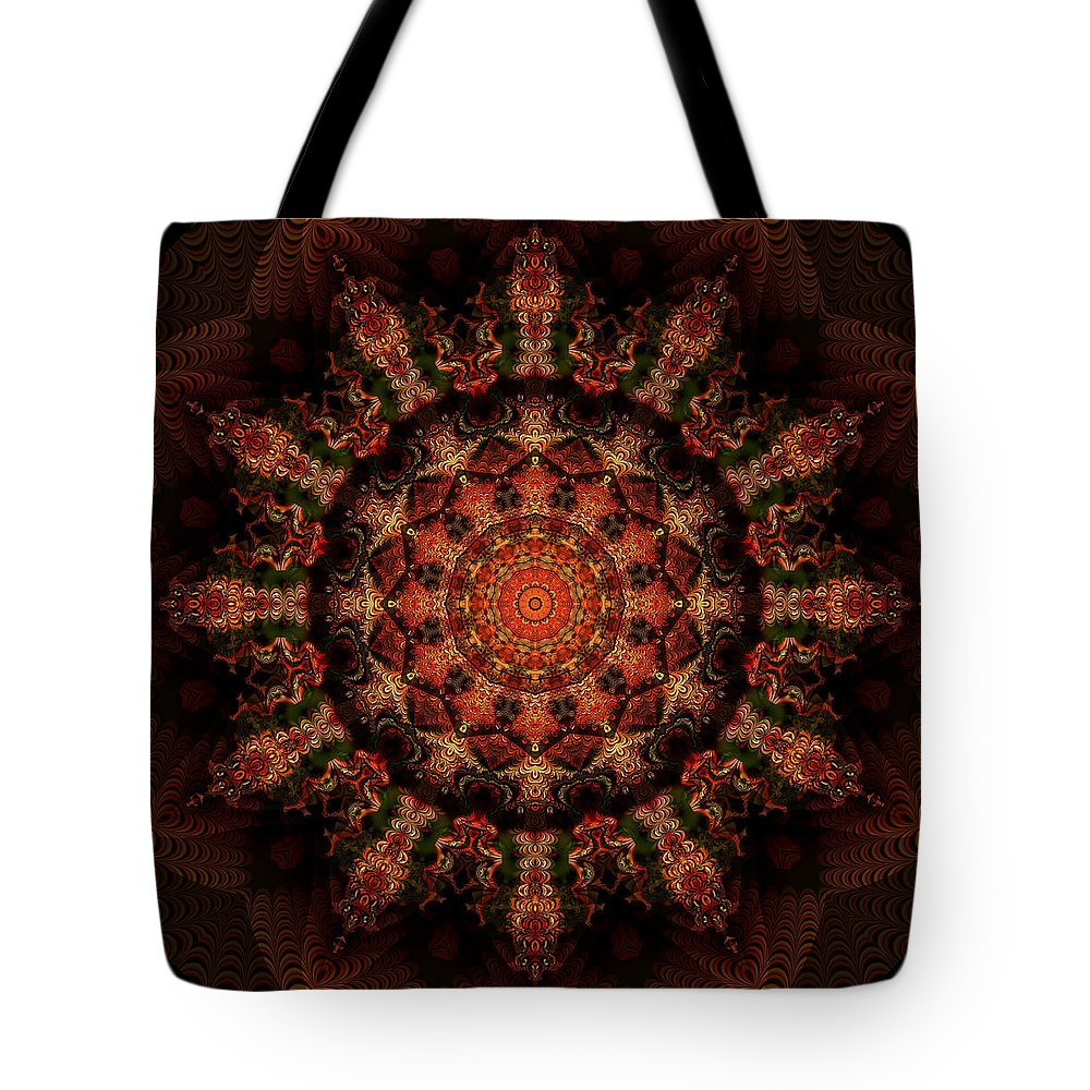 Fractal Tote Bag featuring the digital art 12 Point Kaleido by Richard Ortolano