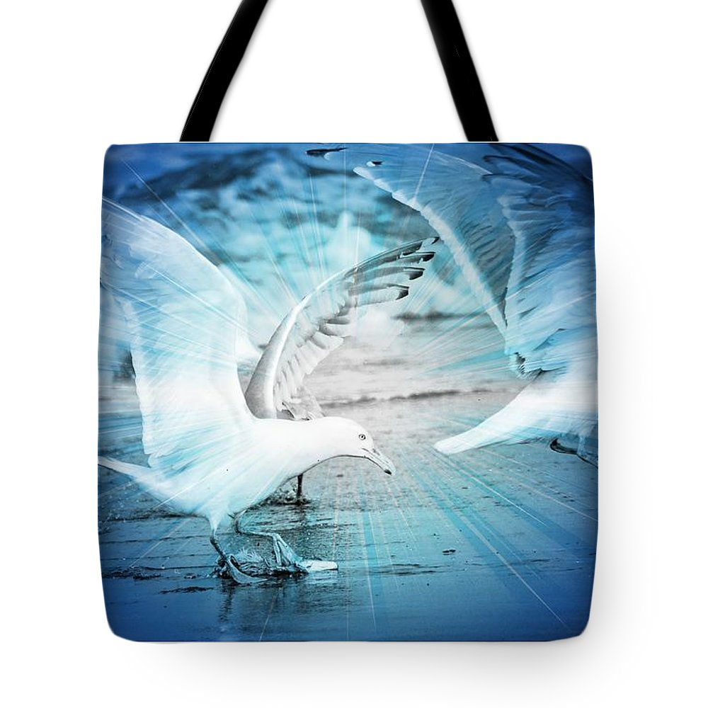 Seagulls Tote Bag featuring the photograph Seagulls by Debra Miller
