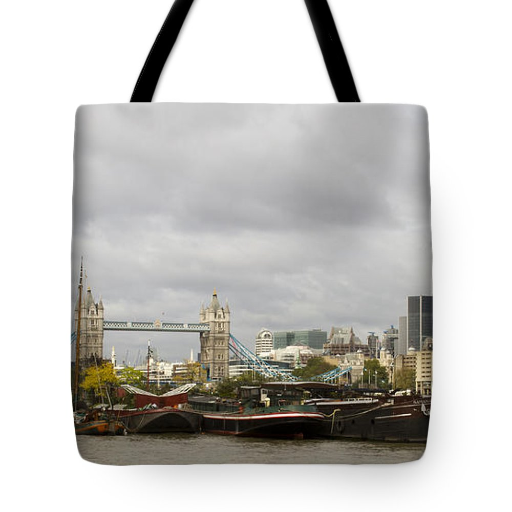 Thames Tote Bag featuring the photograph Thames Barges Tower Bridge 2012 by David French