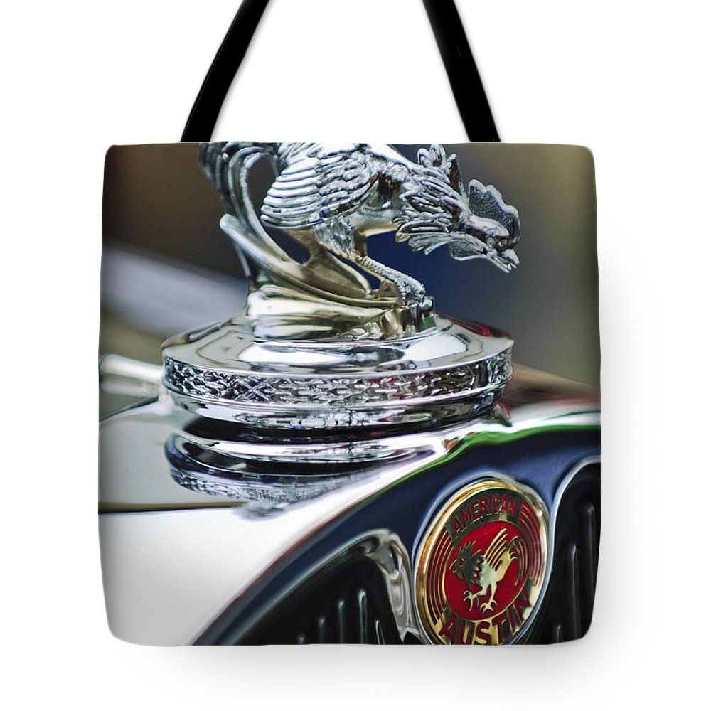 1931 American Austin Roadster Tote Bag featuring the photograph 1931 American Austin Roadster Hood Ornament by Jill Reger