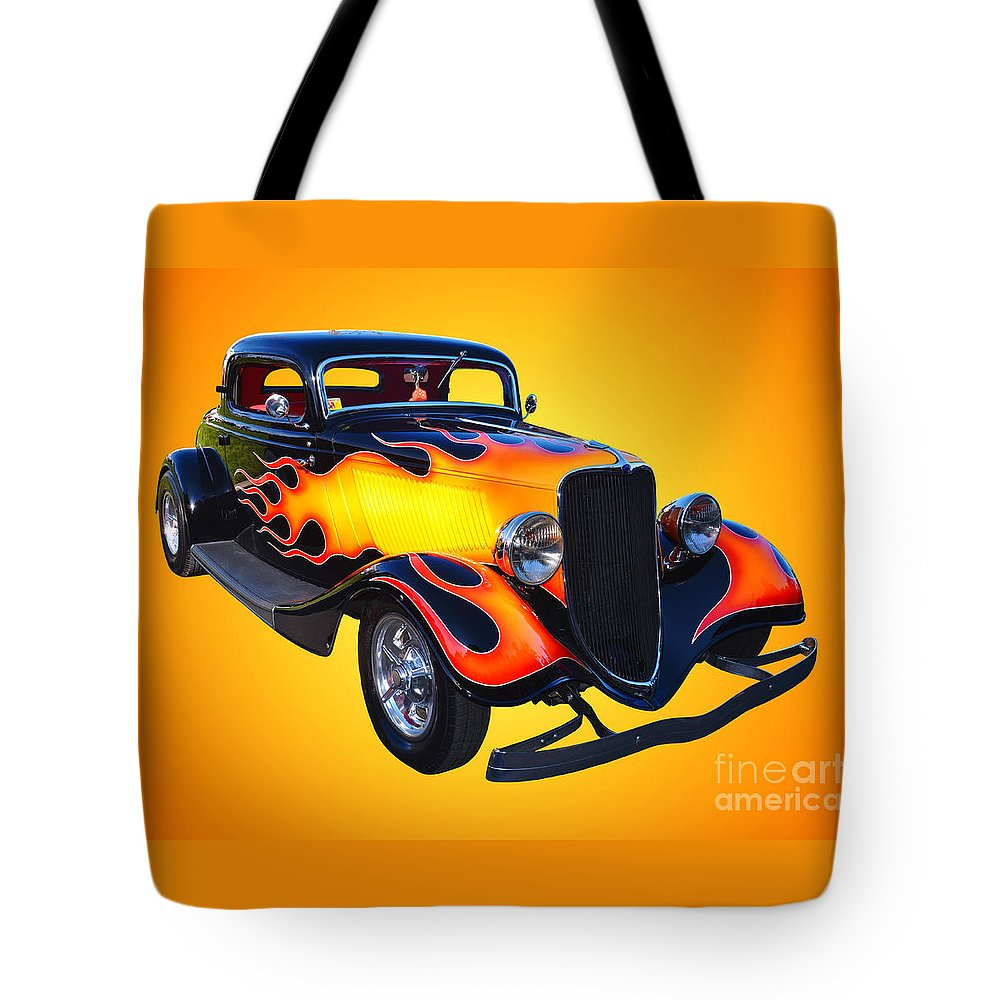Car Tote Bag featuring the photograph 1934 Ford 3 Window Coupe Hotrod by Jim Carrell