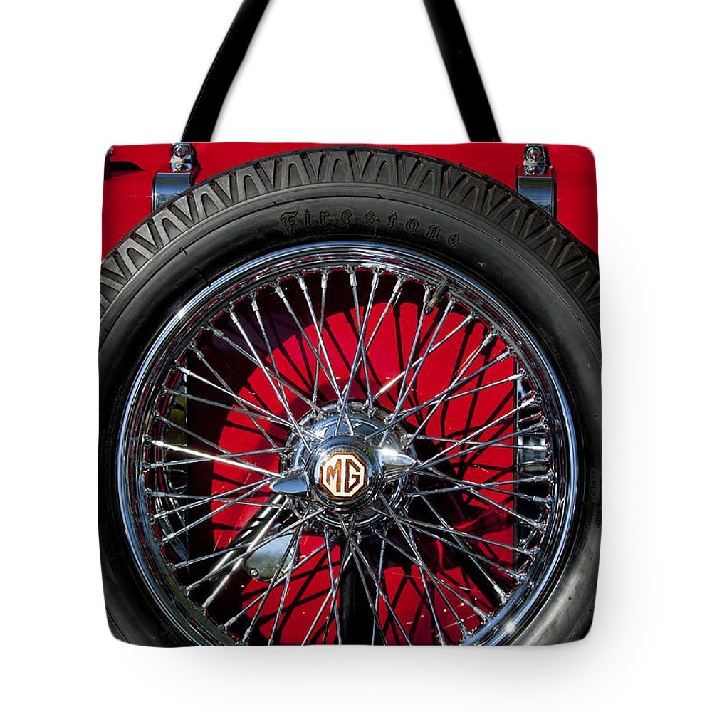 1938 Mg Ta Tote Bag featuring the photograph 1938 Mg Ta Spare Tire by Jill Reger