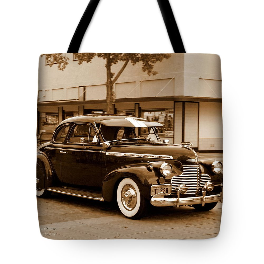 Chevrolet Tote Bag featuring the photograph 1940 Chevrolet Special Deluxe - Sepia by Randall Thomas Stone
