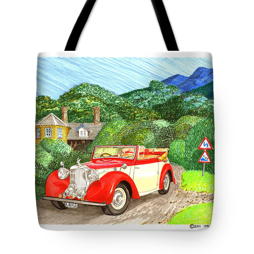 1948 Alvis Tickford Drophead Coupe Art. Framed Art Of 1948 Alvis Tickford Drophead Coupe. Watercolor Paintings Of Classic British Touring Cars. 1948 Alvis Tickford Drophead Coupe Watercolor Art Prints.. Tote Bag featuring the painting 1948 Alvis English Countryside by Jack Pumphrey