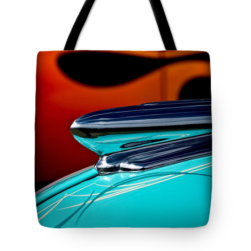 1948 Chevy Tote Bag featuring the photograph 1948 Chevy Hood Ornament by Douglas Pittman