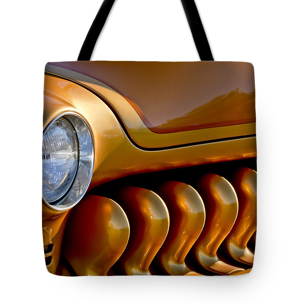 1951 Mercury Tote Bag featuring the photograph 1951 Mercury Grille by Jill Reger