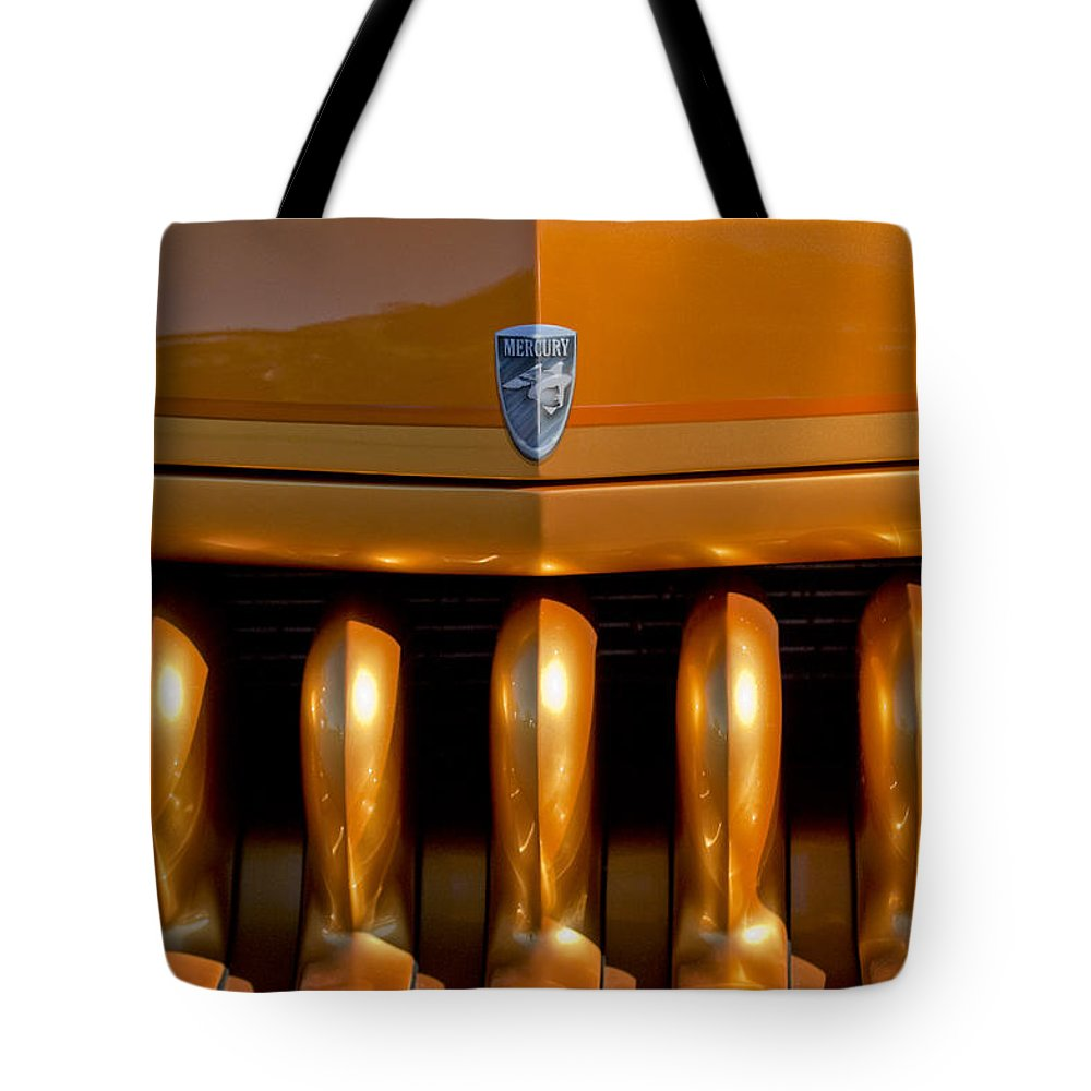 1951 Mercury Tote Bag featuring the photograph 1951 Mercury Hot Rod Grille by Jill Reger