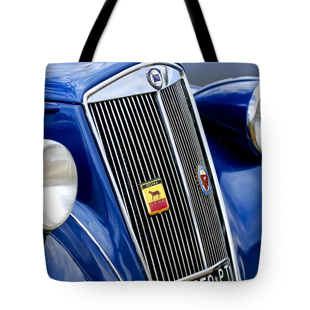 1952 Lancia Ardea 4th Series Berlina Tote Bag featuring the photograph 1952 Lancia Ardea 4th Series Berlina Grille Emblems by Jill Reger