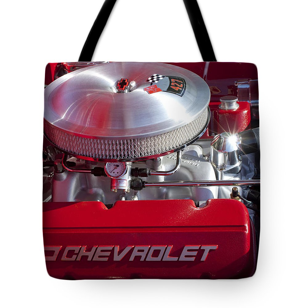 1955 Chevrolet 210 Tote Bag featuring the photograph 1955 Chevrolet 210 Engine by Jill Reger