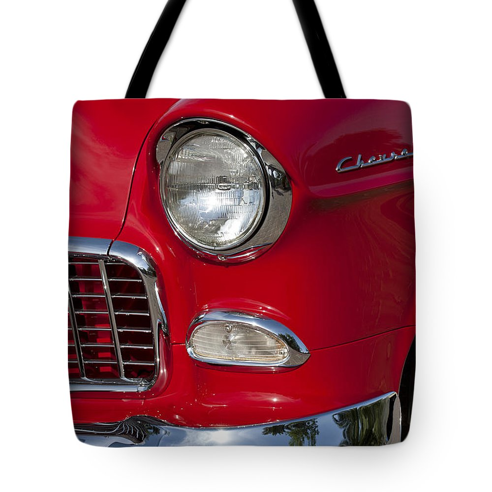 1955 Chevrolet 210 Tote Bag featuring the photograph 1955 Chevrolet 210 Front End by Jill Reger