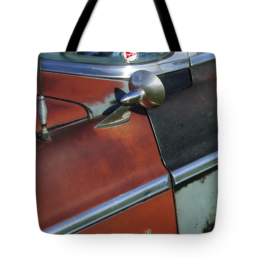 1955 Chrysler Windsor Deluxe Tote Bag featuring the photograph 1955 Chrysler Windsor Deluxe Emblem by Jill Reger