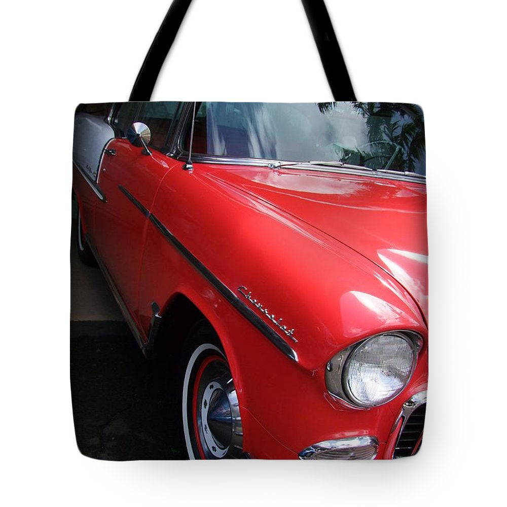 Chevy Tote Bag featuring the photograph 1956 Red And White Chevy by Mary Deal