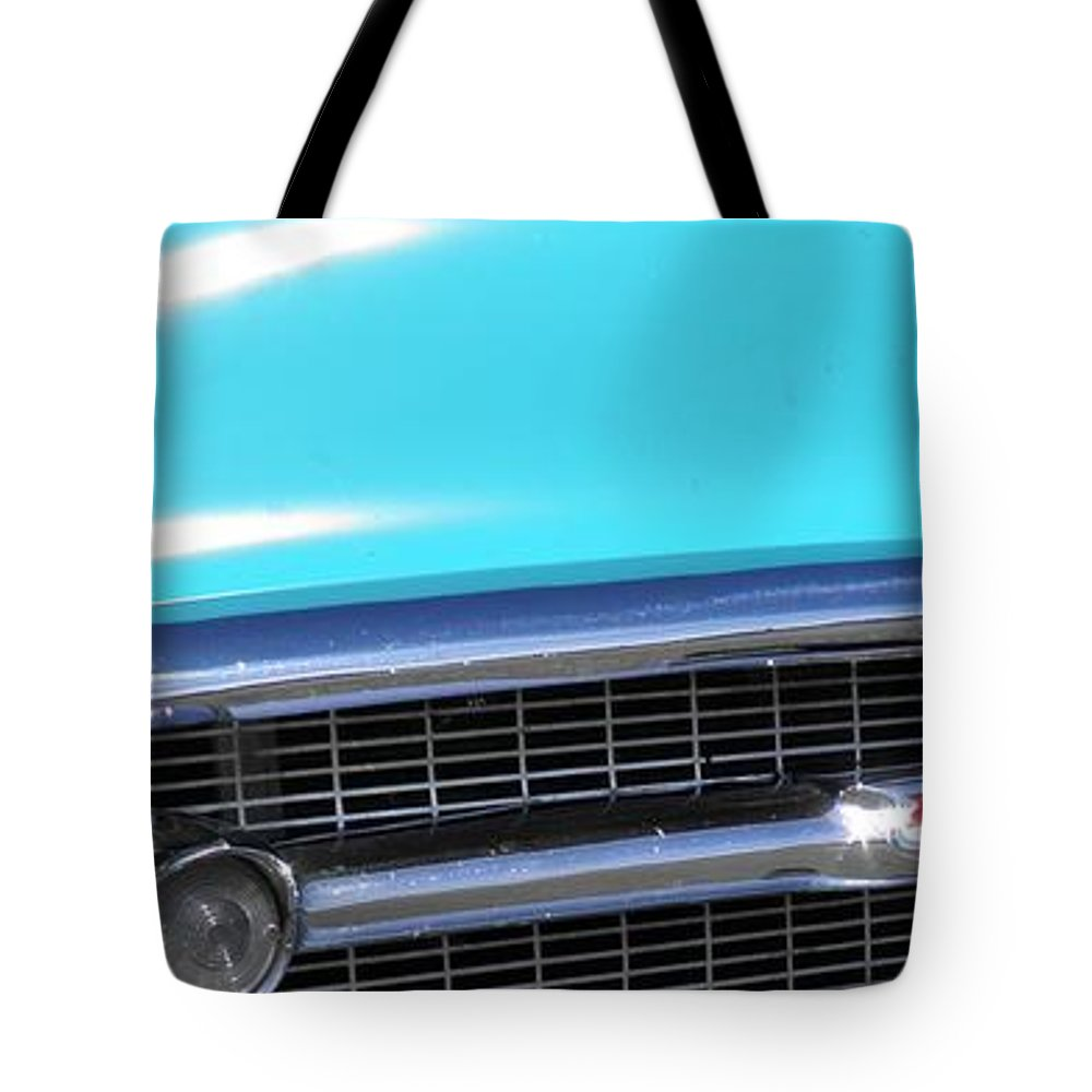 Panoramic Tote Bag featuring the photograph 1957 Chevrolet Bel Air Classic Car Panoramic Fine Art Photo by Sven Migot