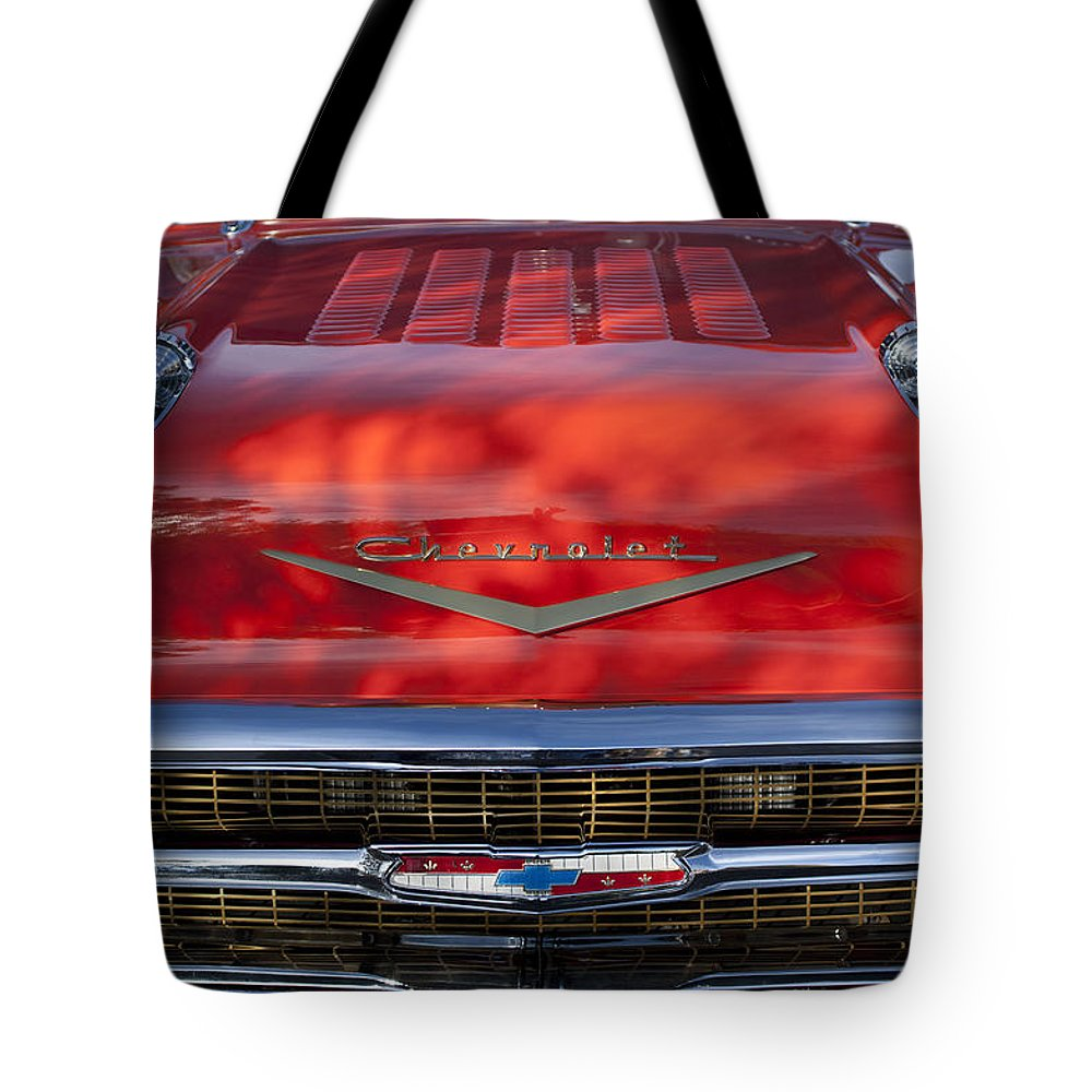 1957 Chevrolet Tote Bag featuring the photograph 1957 Chevrolet Grille 2 by Jill Reger