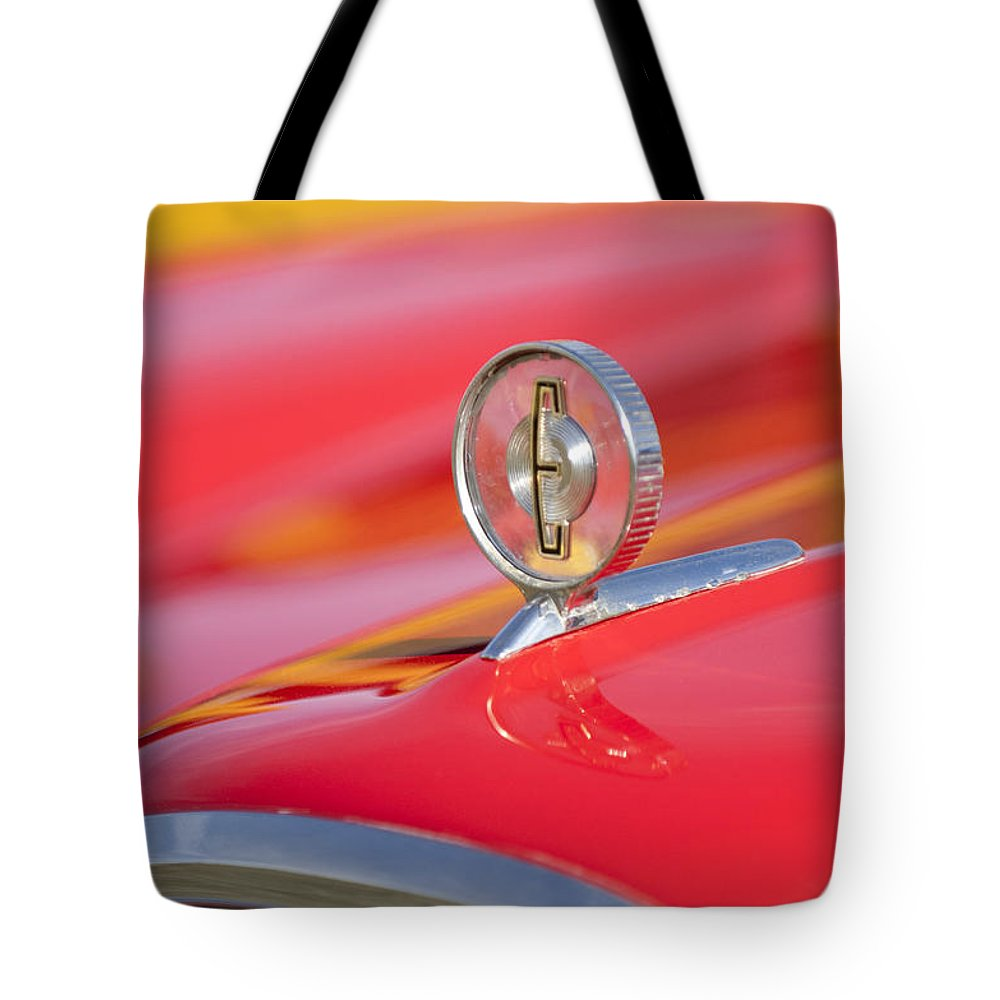 1958 Edsel Roundup Tote Bag featuring the photograph 1958 Edsel Roundup Hood Ornament by Jill Reger