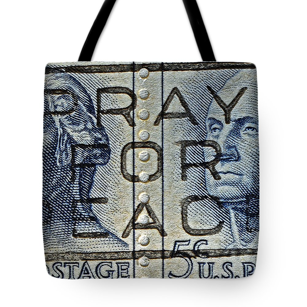 1962 Tote Bag featuring the photograph 1962 Pray For Peace Stamp Collage by Bill Owen