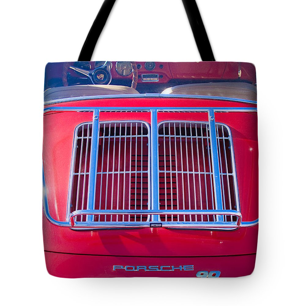 Automobiles Tote Bag featuring the photograph 1963 Red Porsche 356b Super 90 Back End by James BO Insogna