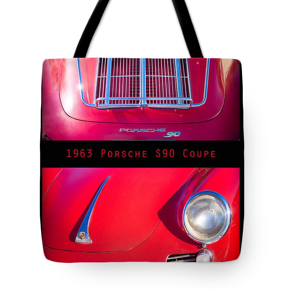 1963 Tote Bag featuring the photograph 1963 Red Porsche S90 Coupe Poster S by James BO Insogna