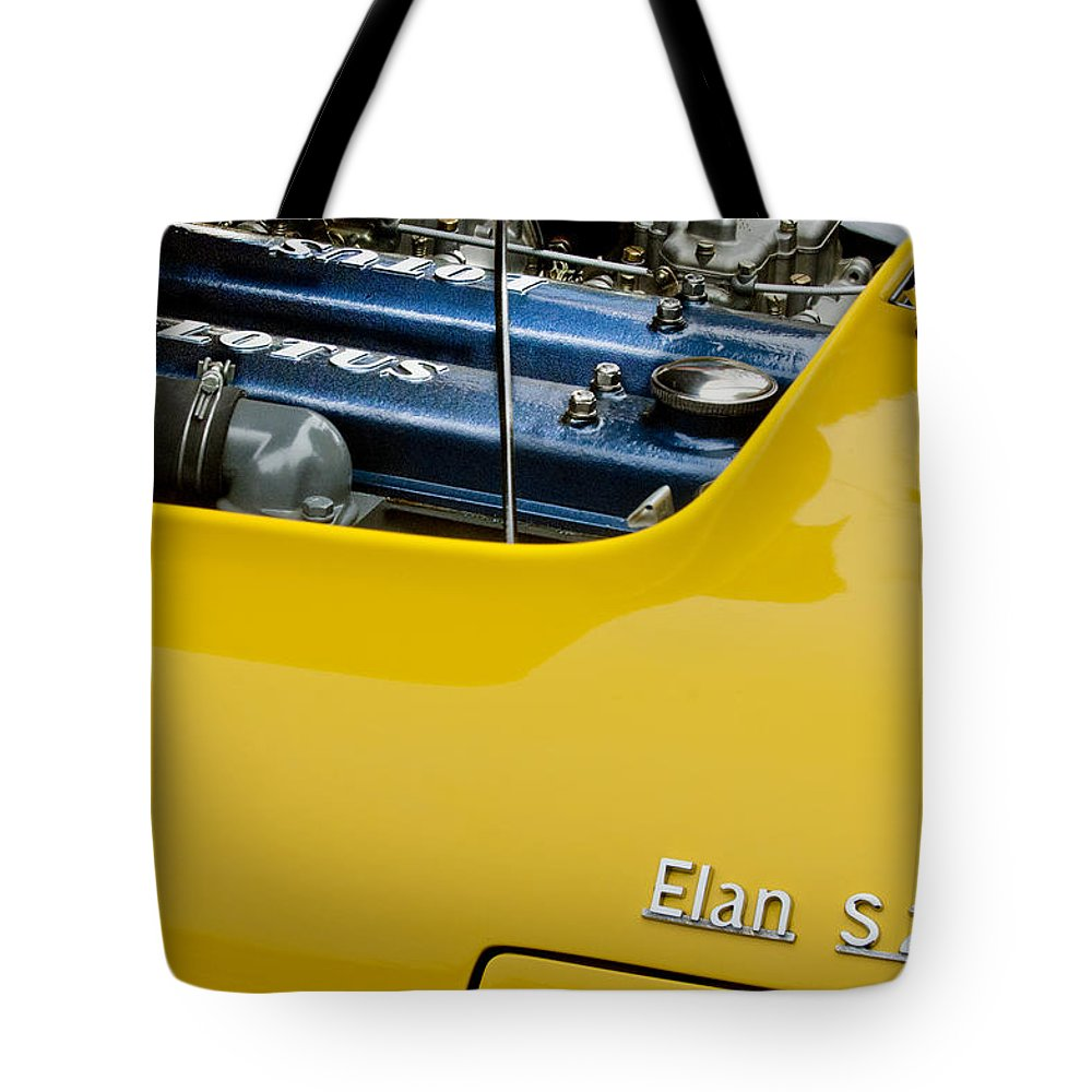 1965 Lotus Elan S2 Tote Bag featuring the photograph 1965 Lotus Elan S2 Engine by Jill Reger