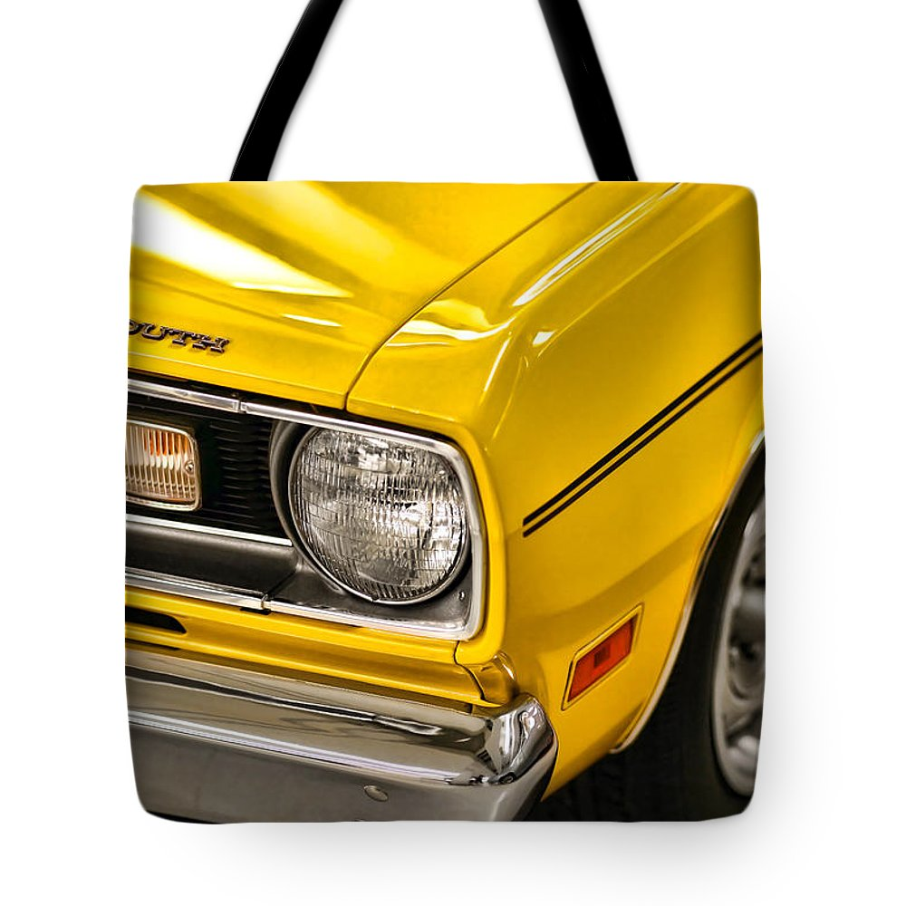 Plymouth Tote Bag featuring the photograph 1970 Plymouth Duster 340 by Gordon Dean II