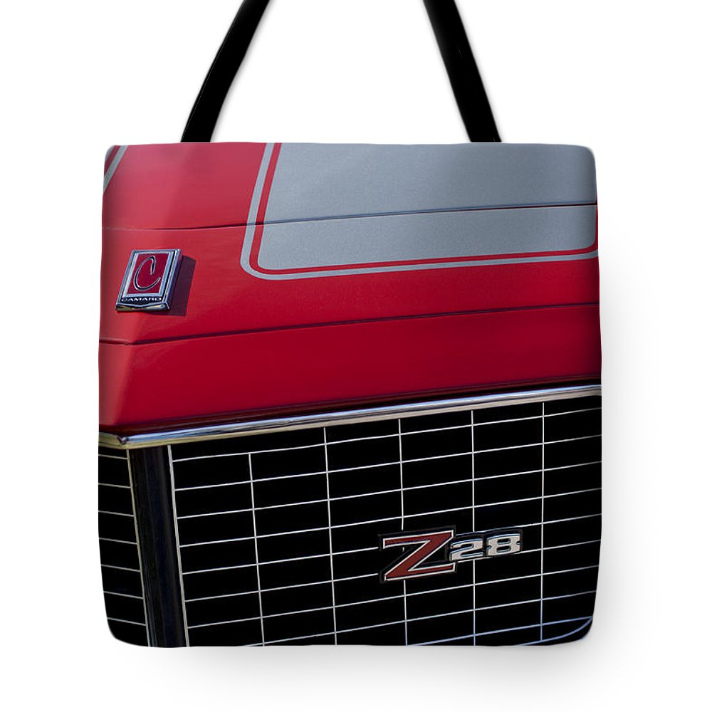 1971 Chevrolet Camaro Tote Bag featuring the photograph 1971 Chevrolet Camaro Grille by Jill Reger