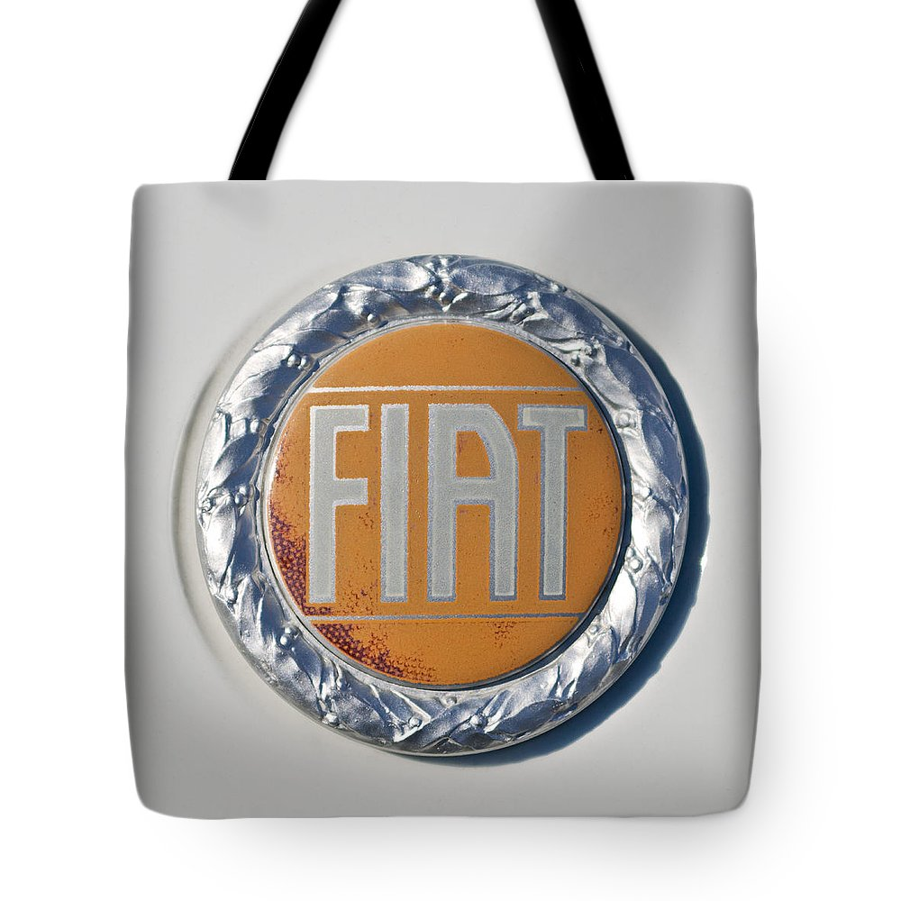 1977 Fiat 124 Spider Tote Bag featuring the photograph 1977 Fiat 124 Spider Emblem by Jill Reger