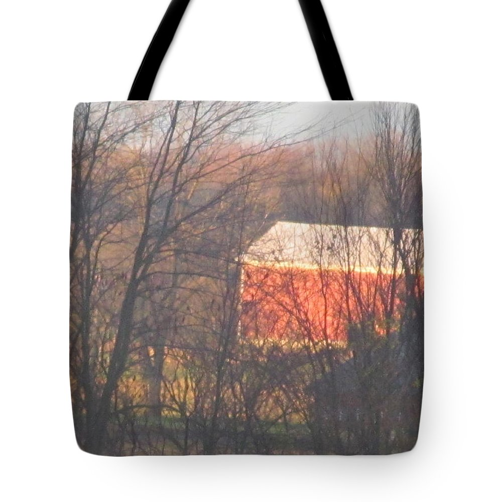 Sun Tote Bag featuring the photograph 1nov2012 Sunrise On Red Barn by Tina M Wenger