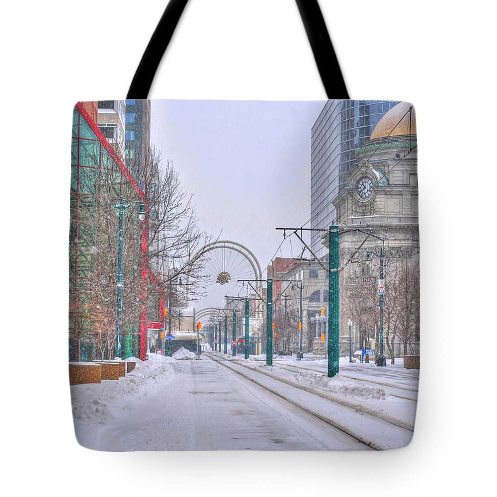 Tote Bag featuring the photograph 1st Real Snow Golddome 2012 by Michael Frank Jr