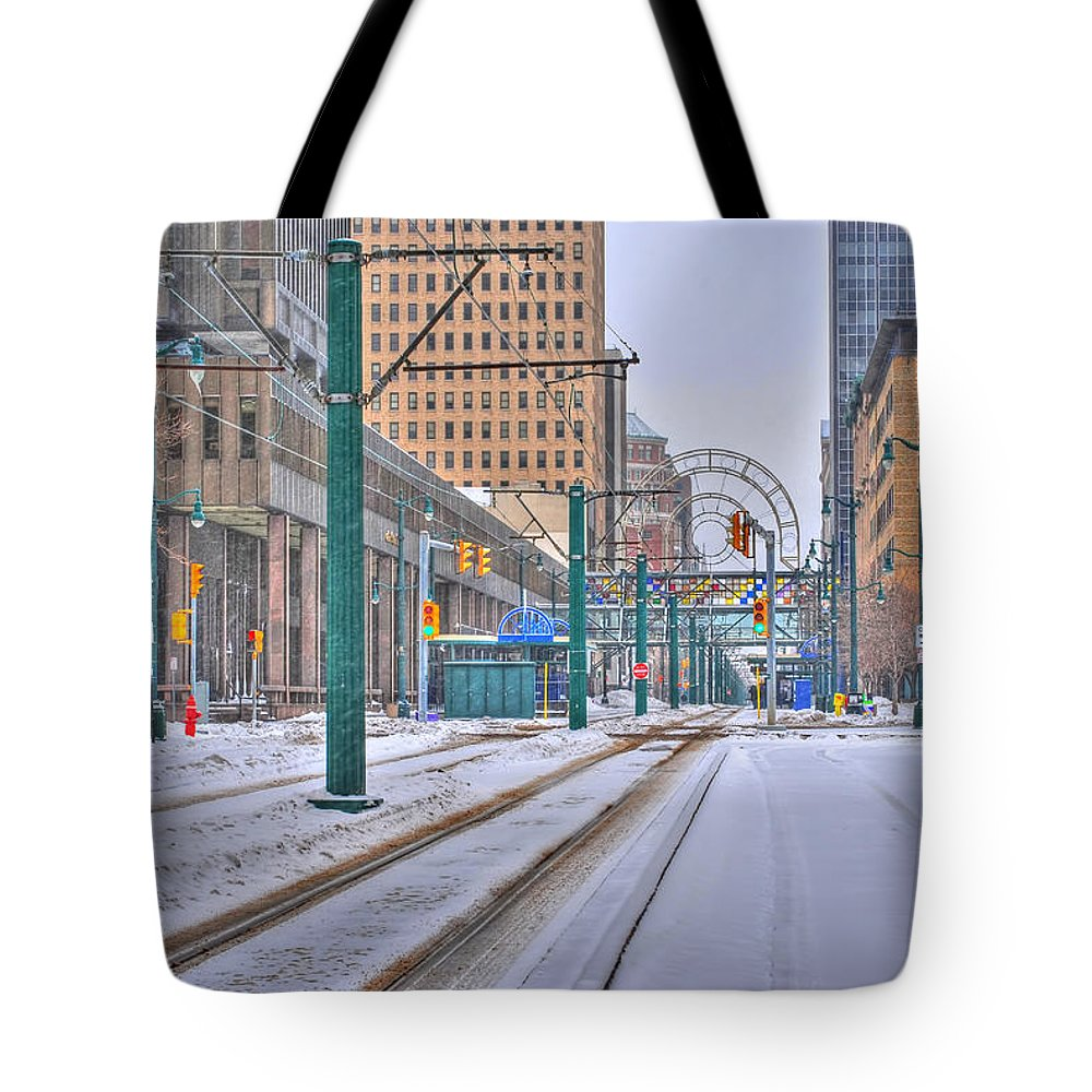Tote Bag featuring the photograph 1st Real Snowfall Metro Rail 2012 by Michael Frank Jr