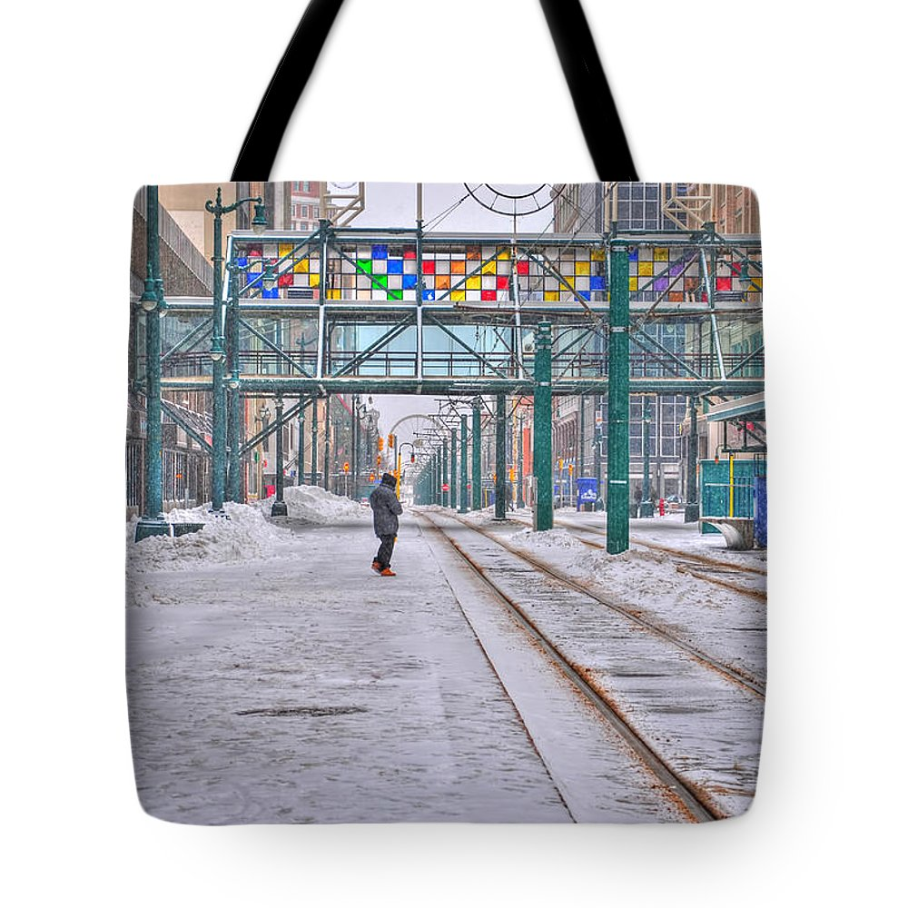 Tote Bag featuring the photograph 1st Real Snowfall Metro Rail Downtown by Michael Frank Jr