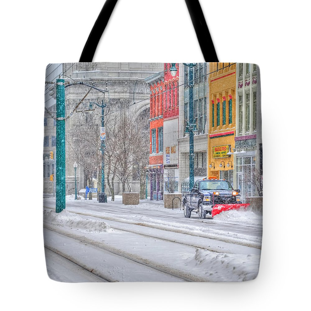 Tote Bag featuring the photograph 1st Real Snowfall Plow 2012 by Michael Frank Jr