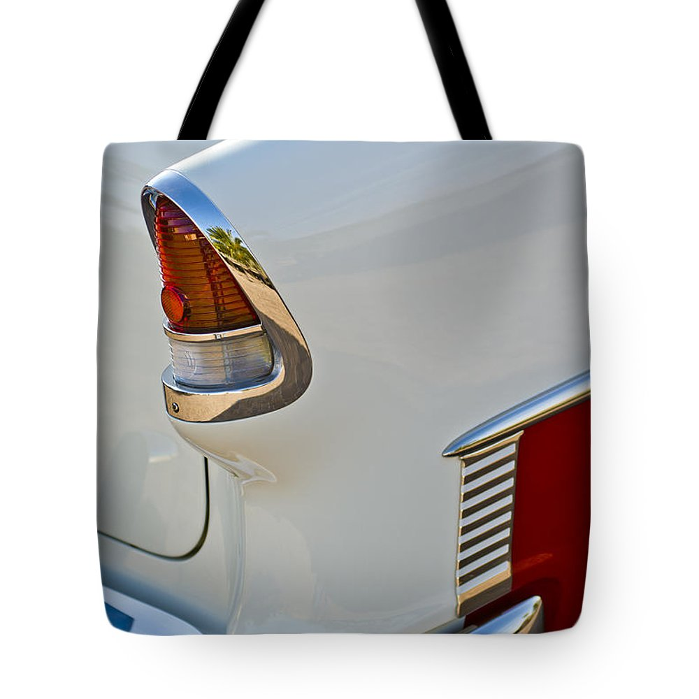 1955 Chevrolet 210 Tote Bag featuring the photograph 1955 Chevrolet 210 Taillight by Jill Reger