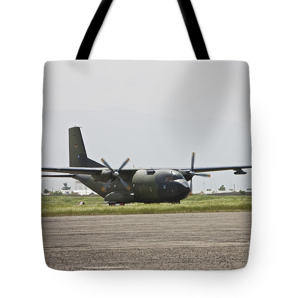 Taxiing Tote Bag featuring the photograph A German Air Force Transall C-160 Taxis by Terry Moore