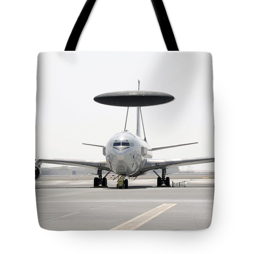 Air Force Tote Bag featuring the photograph A U.s. Air Force E-3 Sentry Airborne by Stocktrek Images