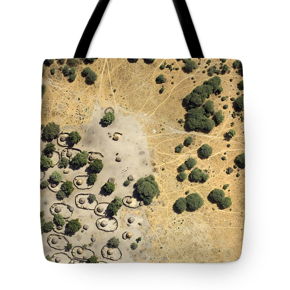 Landscape Tote Bag featuring the photograph A Village On The Shores Of Lake Chad by Michael Fay
