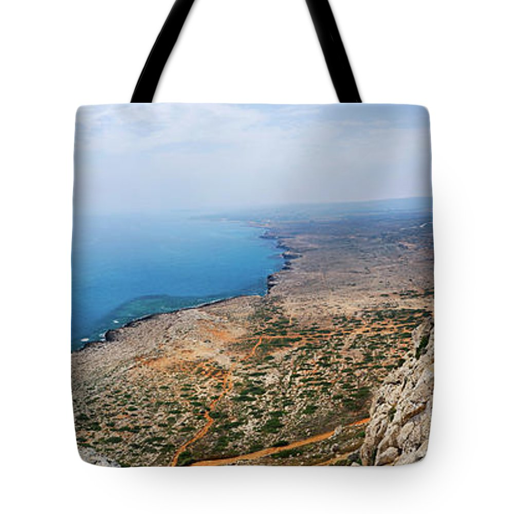 Panorama Tote Bag featuring the photograph Beautiful View On Mediterranean Sea From Cape Gkreko In Cyprus by Oleksiy Maksymenko