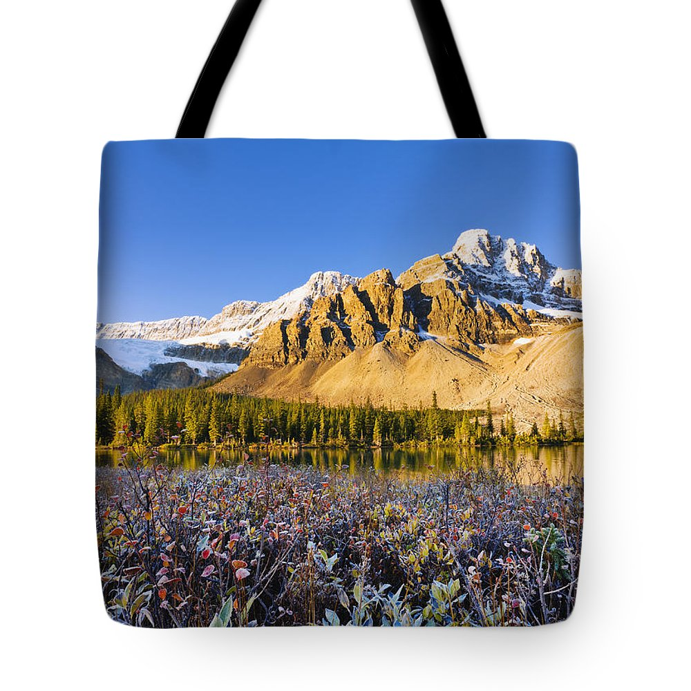 Autumn Tote Bag featuring the photograph Bow Lake And Crowfoot Mountain by Yves Marcoux