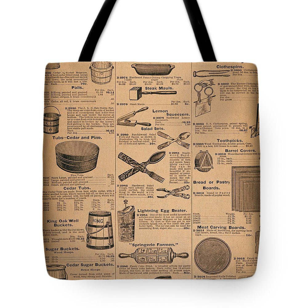 Advertisement Tote Bag featuring the photograph Catalog Page, C1900 by Granger