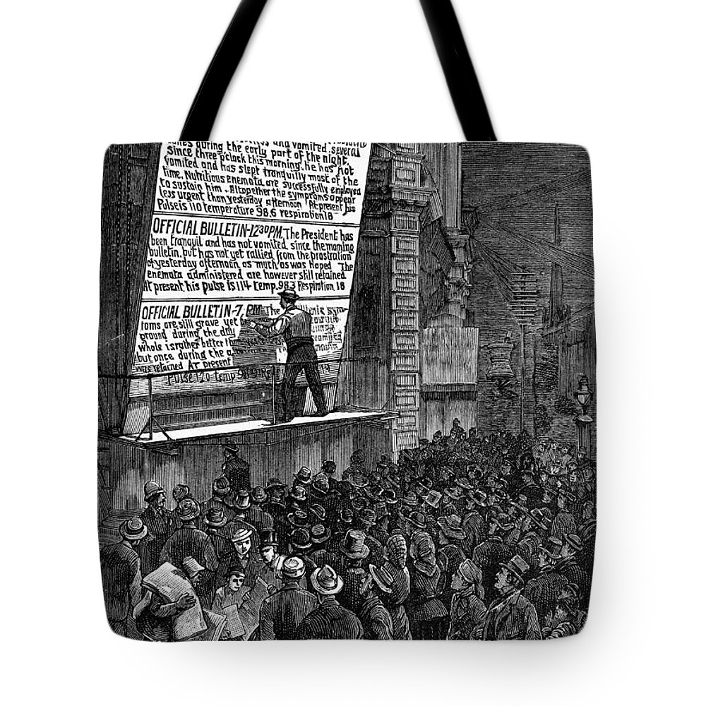 1881 Tote Bag featuring the photograph Garfield: Assassination by Granger